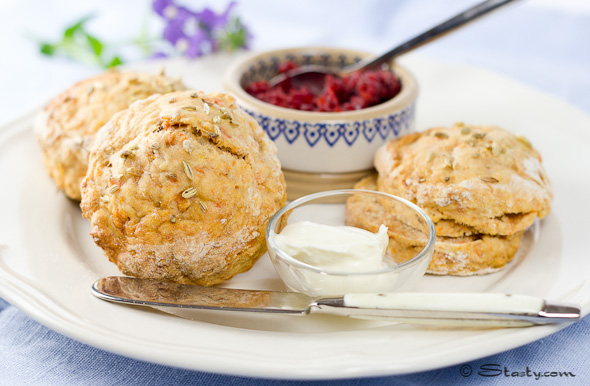 Sweet Potato Scones with Beetroot Jam and Crème Fraiche – Stasty