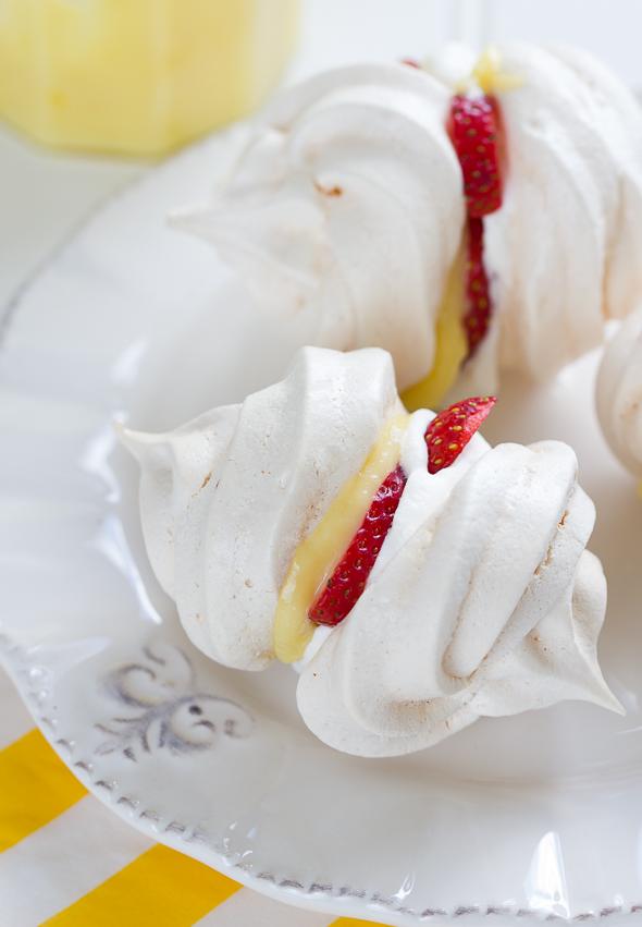 Strawberry and Lemon Curd Meringues